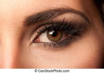 kobieta, brązowy, oko, z, pastelowa farba, makijaż, i,...
