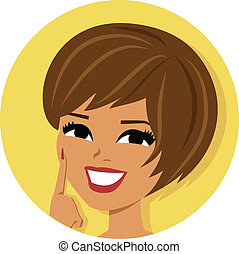 kobieta, brunetka, ikona