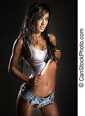 kobieta, brunetka, pociągający, posing.