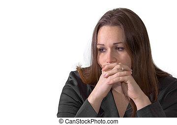 kobieta, brunetka, smutny