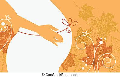 kobieta, brzemienny, jesień, sylwetka