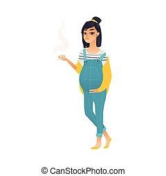 kobieta, brzemienny, młody, papieros, ładny, palenie