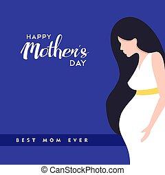 kobieta, brzemienny, matki, ilustracja, dzień, szczęśliwy