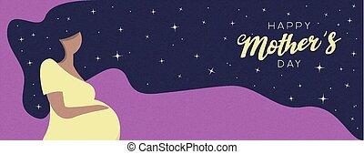 kobieta, brzemienny, matkuje dzień, karta, szczęśliwy