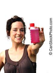 kobieta, butelka, młody, płyn, plastyk, dzierżawa, czerwony