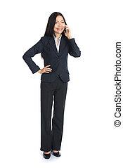 kobieta, cellphone, asian handlowy
