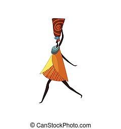 kobieta, ceramiczny, wazon, tło., afrykanin, biały