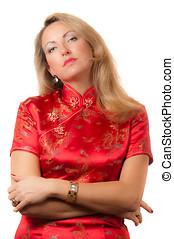 kobieta, cheongsam, twarz, czerwony, wyrażenie, arogancki