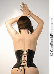 kobieta, chodząc, corset.