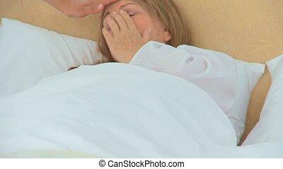 kobieta, chory, płacz