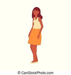 kobieta, ciemny-obielany, orientalny, mulatto, brunatno-haired, albo, standing.