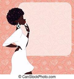 kobieta, ciemny-obielany, różowy