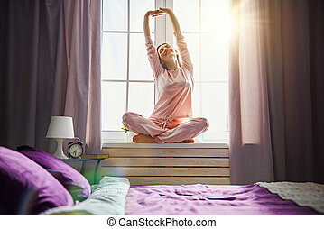 kobieta, cieszący się, słoneczny, rano