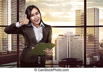 kobieta, clipboard, asian handlowy, dzierżawa
