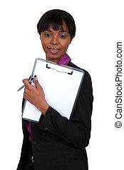 kobieta, clipboard, dzierżawa