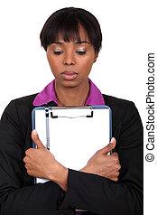 kobieta, clipboard, dzierżawa, smutny
