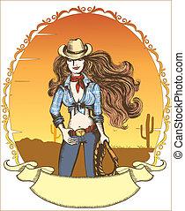 kobieta, clothes., sexy, kapelusz, cowgirl., wektor, kowboj