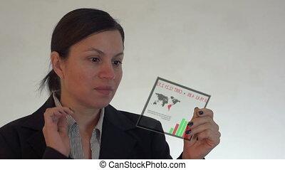 kobieta, comput, futurystyczny, tabliczka