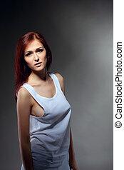 kobieta, cysternowy szczyt, młody, sexy, portret