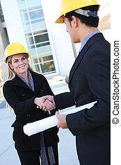 kobieta, człowiek, handlowy, zbudowanie