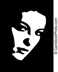 kobieta, czarnoskóry, młody, portret, piękny, biały