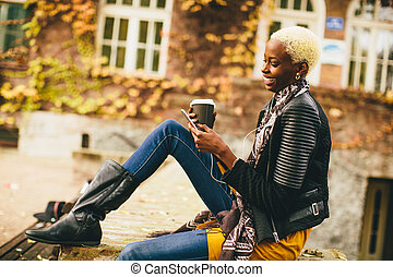 kobieta, czarnoskóry, młody