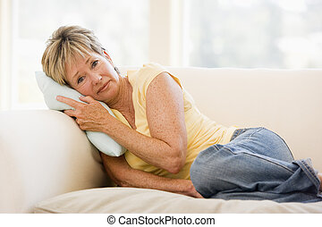 kobieta, czuły cierpiący na zawroty głowy