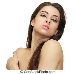 kobieta, czysty, piękno, zdrowy, odizolowany, młody, looking., tło, skóra, biały
