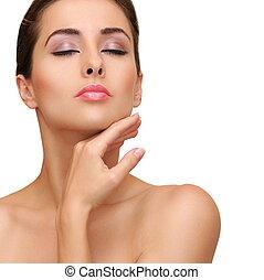 kobieta, czysty, piękno, zdrowy, odizolowany, twarz, skin., closeup, tło, portret, biały