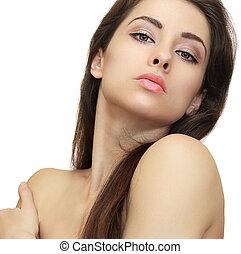 kobieta, czysty, piękno, zdrowy, patrząc, closeup, tło, skóra, portret, biały, sexy.