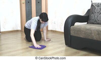 kobieta, czyszczenie, podłoga