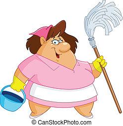 kobieta, czyszczenie