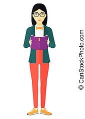 kobieta czytanie, book.