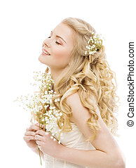 kobieta, długi, blond włos, piękno, fason modelują, biały