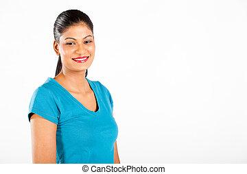 kobieta, długość, indianin, pół, portret, biały