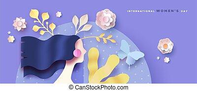 kobieta, damski, papier, dzień, chorągiew, cięty kwiat