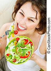 kobieta, diet., roślina, młody, jedzenie, sałata, zdrowy