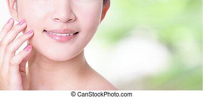 kobieta, do góry, usteczka, zdrowie, uśmiech, zęby, zamknięcie