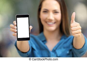 kobieta, dodatni, pokaz, telefon, okienko osłaniają, mądry