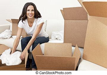 kobieta, dom, jednorazowy, kabiny, ruchomy, rozpakować się