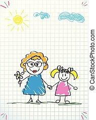 kobieta, doodle, dzieciaki, rysunki, dziewczyna, razem.