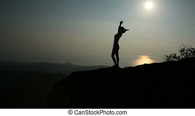 kobieta, doping, zachód słońca, herb otwarty