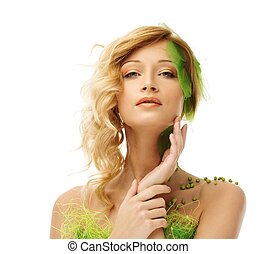 kobieta, dotykanie, młody, konceptualny, kostium, twarz, jej, wiosna, piękny