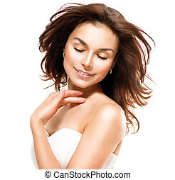 kobieta, dotykanie, na, skin., młody, portret, jej, piękny, biały