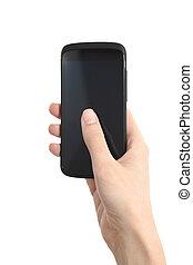 kobieta, dotykanie, ruchomy, ręka, kciuk, telefon, ekran, jej