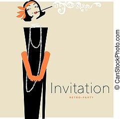 kobieta, dress., sylwetka, illustration., elegancki, wektor, czarnoskóry, retro, palenie, portret