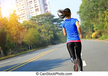 kobieta, droga, lekkoatletyka, miasto, wyścigi