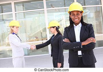 kobieta, drużyna, człowiek, zbudowanie