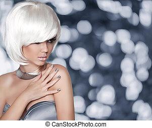 kobieta, dygać, fason, girl., portret, hairstyle., blond, ...