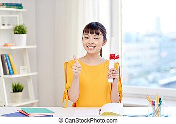 kobieta, dyplom, asian, student, dom, szczęśliwy
